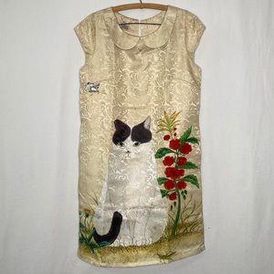 Vintage Peter Pan Collar Midi Floral Cat Dress